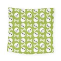 Skull Bone Mask Face White Green Square Tapestry (Small) View1