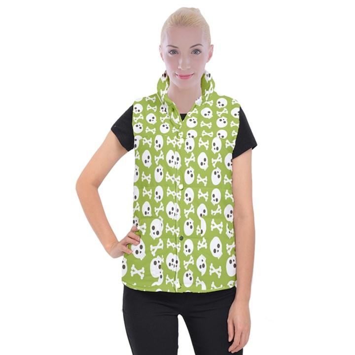 Skull Bone Mask Face White Green Women s Button Up Puffer Vest