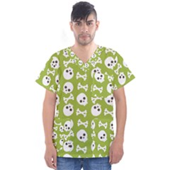 Skull Bone Mask Face White Green Men s V Neck Scrub Top