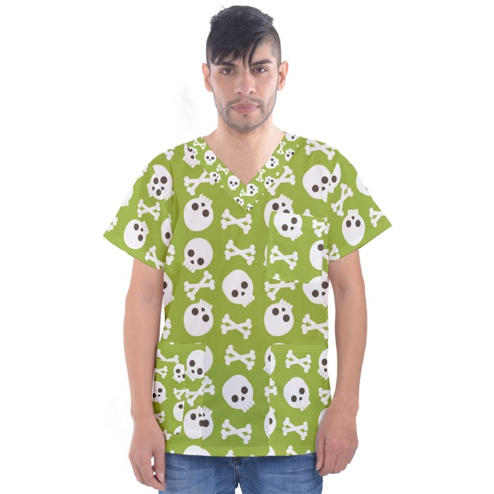 Skull Bone Mask Face White Green Men s V-Neck Scrub Top