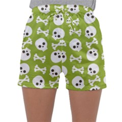 Skull Bone Mask Face White Green Sleepwear Shorts