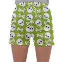 Skull Bone Mask Face White Green Sleepwear Shorts View1