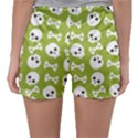 Skull Bone Mask Face White Green Sleepwear Shorts View2