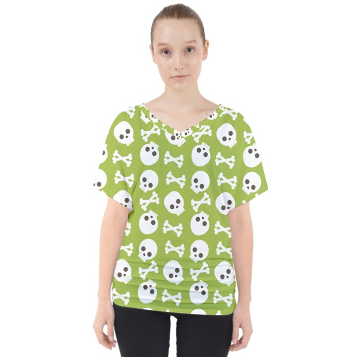 Skull Bone Mask Face White Green V-Neck Dolman Drape Top
