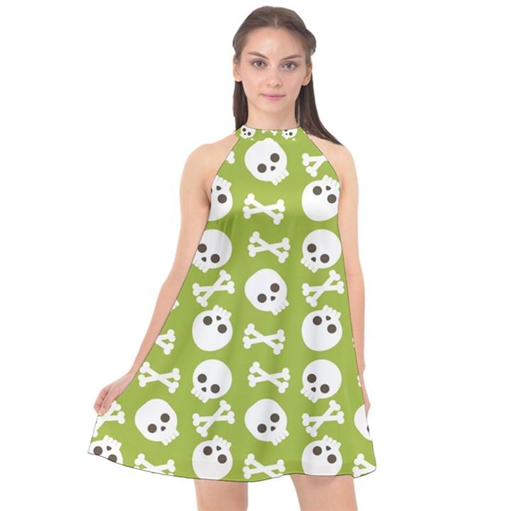 Skull Bone Mask Face White Green Halter Neckline Chiffon Dress