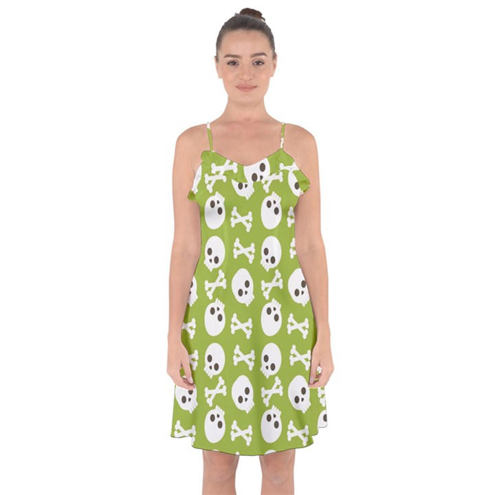 Skull Bone Mask Face White Green Ruffle Detail Chiffon Dress