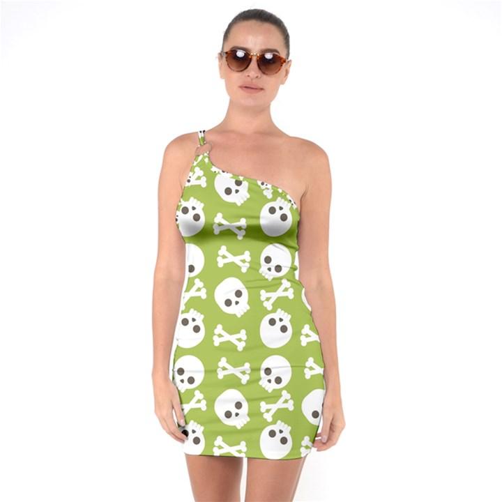 Skull Bone Mask Face White Green One Soulder Bodycon Dress