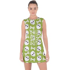 Skull Bone Mask Face White Green Lace Up Front Bodycon Dress