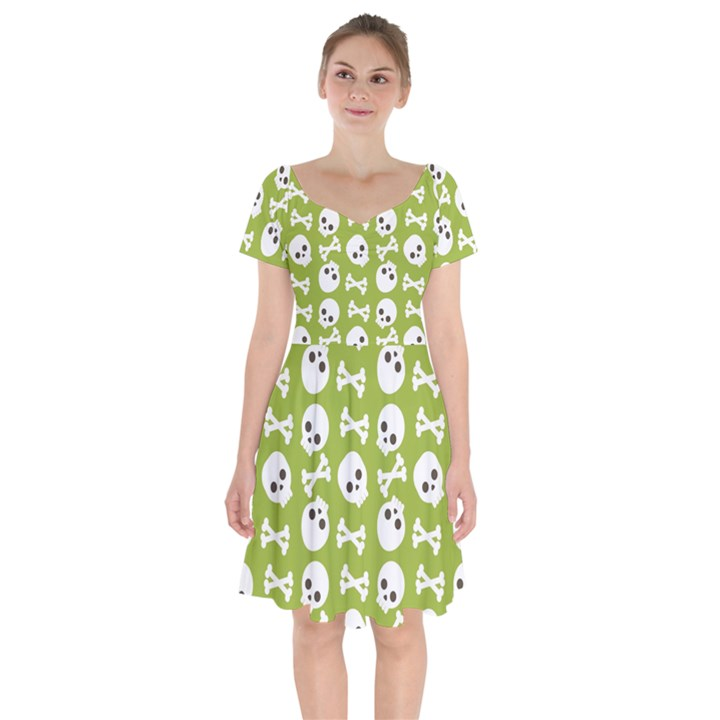 Skull Bone Mask Face White Green Short Sleeve Bardot Dress