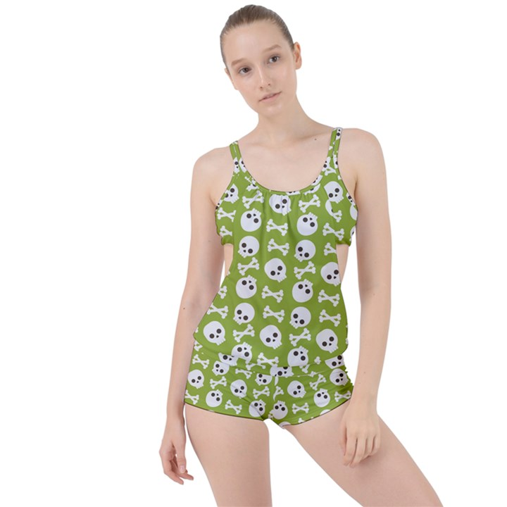 Skull Bone Mask Face White Green Boyleg Tankini Set