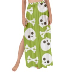 Skull Bone Mask Face White Green Maxi Chiffon Tie Up Sarong