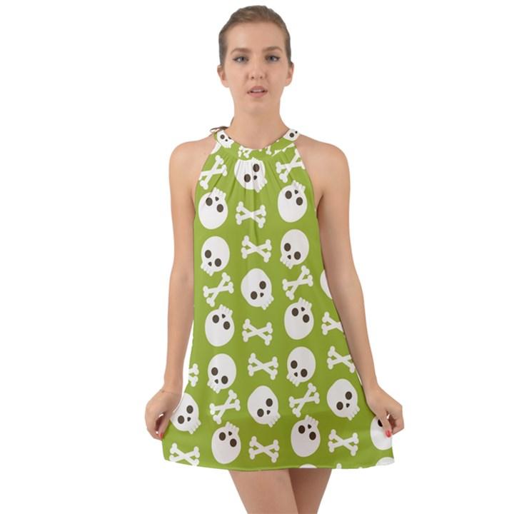 Skull Bone Mask Face White Green Halter Tie Back Chiffon Dress