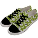 Skull Bone Mask Face White Green Men s Low Top Canvas Sneakers View2
