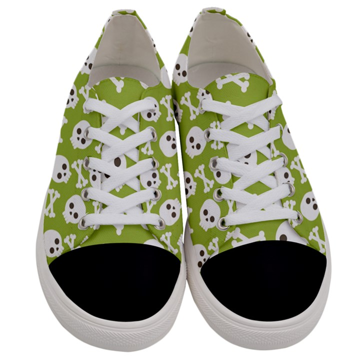 Skull Bone Mask Face White Green Women s Low Top Canvas Sneakers