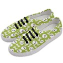 Skull Bone Mask Face White Green Women s Classic Low Top Sneakers View2