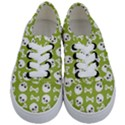 Skull Bone Mask Face White Green Kids  Classic Low Top Sneakers View1