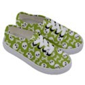 Skull Bone Mask Face White Green Kids  Classic Low Top Sneakers View3