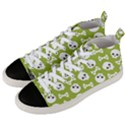 Skull Bone Mask Face White Green Men s Mid-Top Canvas Sneakers View2