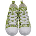 Skull Bone Mask Face White Green Kid s Mid-Top Canvas Sneakers View1