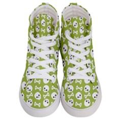 Skull Bone Mask Face White Green Men s Hi Top Skate Sneakers
