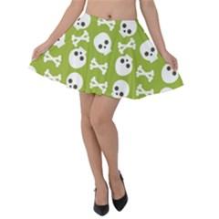 Skull Bone Mask Face White Green Velvet Skater Skirt