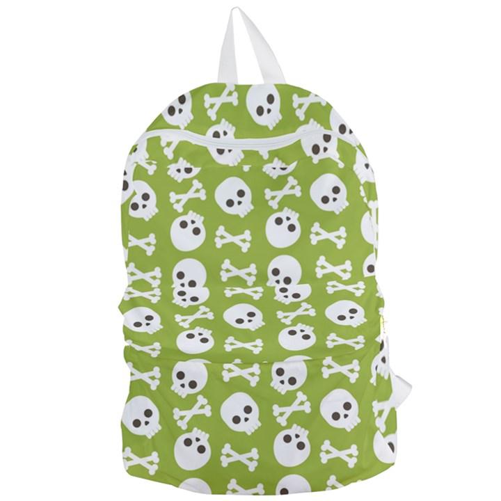 Skull Bone Mask Face White Green Foldable Lightweight Backpack