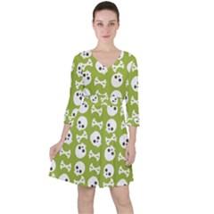 Skull Bone Mask Face White Green Ruffle Dress