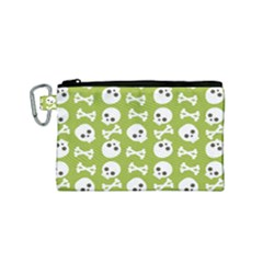 Skull Bone Mask Face White Green Canvas Cosmetic Bag (small)