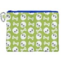 Skull Bone Mask Face White Green Canvas Cosmetic Bag (XXL) View1