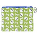 Skull Bone Mask Face White Green Canvas Cosmetic Bag (XXL) View2