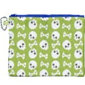 Skull Bone Mask Face White Green Canvas Cosmetic Bag (XXXL) View1