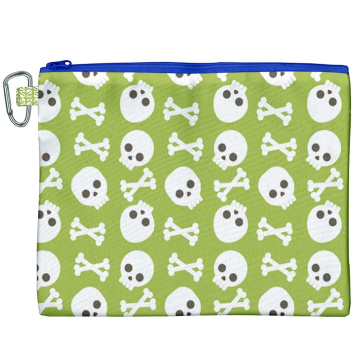 Skull Bone Mask Face White Green Canvas Cosmetic Bag (XXXL)