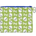 Skull Bone Mask Face White Green Canvas Cosmetic Bag (XXXL) View2