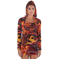 Lava Active Volcano Nature Long Sleeve Hooded T Shirt