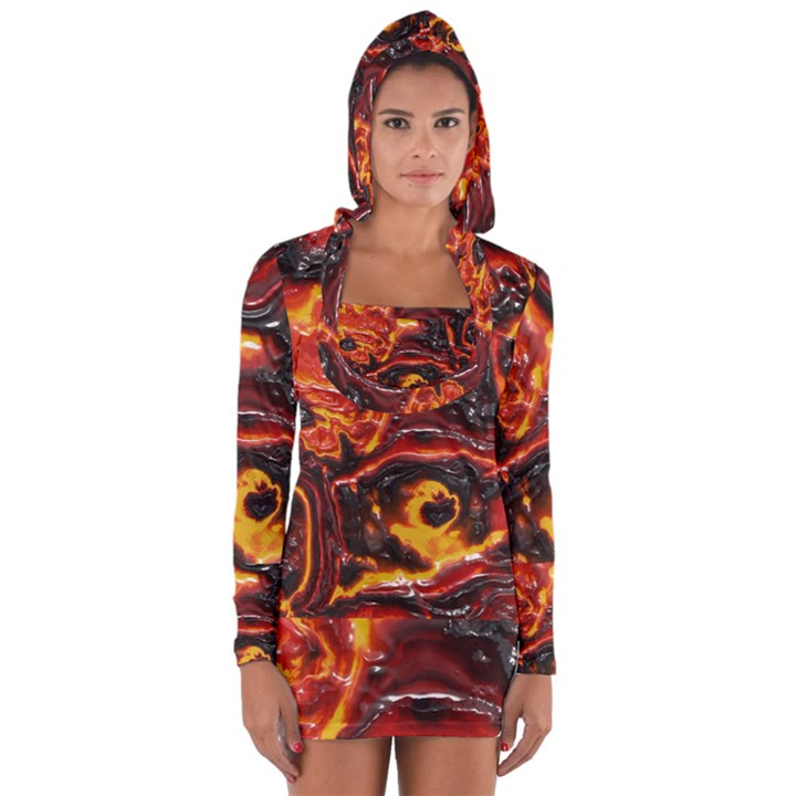 Lava Active Volcano Nature Long Sleeve Hooded T-shirt