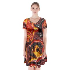 Lava Active Volcano Nature Short Sleeve V Neck Flare Dress