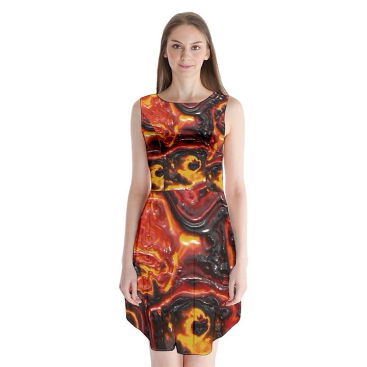 Lava Active Volcano Nature Sleeveless Chiffon Dress