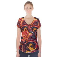 Lava Active Volcano Nature Short Sleeve Front Detail Top