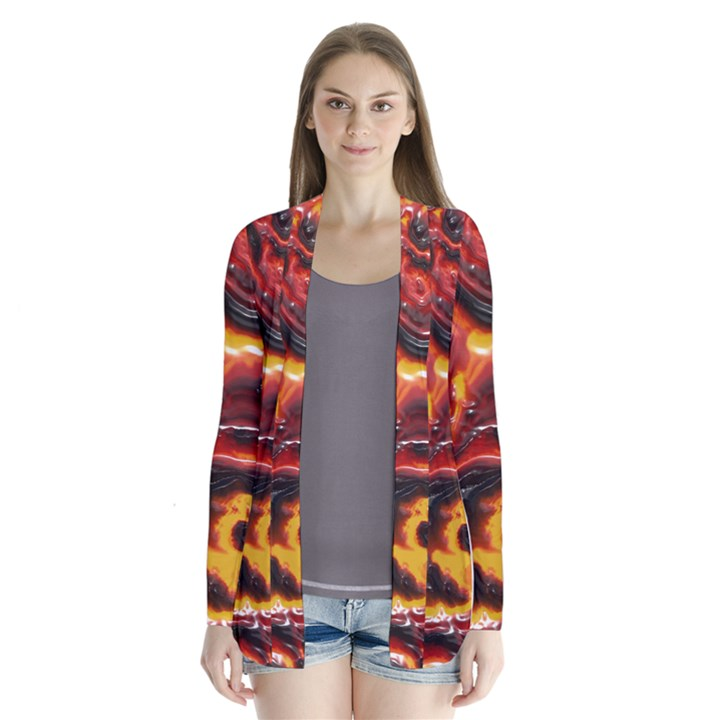 Lava Active Volcano Nature Drape Collar Cardigan