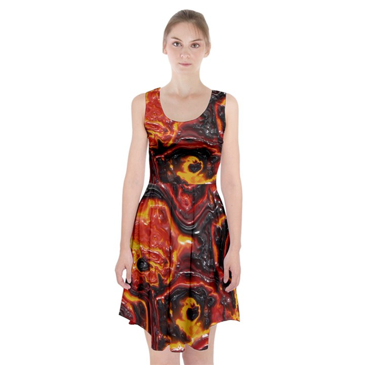Lava Active Volcano Nature Racerback Midi Dress