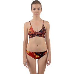 Lava Active Volcano Nature Wrap Around Bikini Set