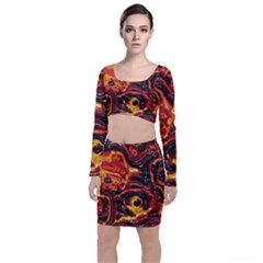 Lava Active Volcano Nature Long Sleeve Crop Top & Bodycon Skirt Set