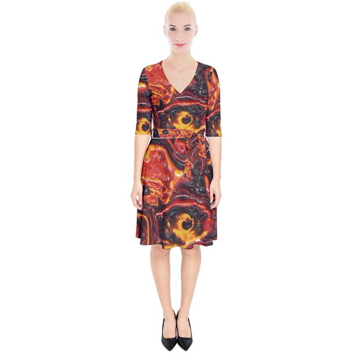 Lava Active Volcano Nature Wrap Up Cocktail Dress