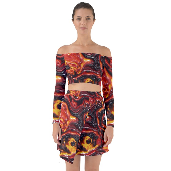 Lava Active Volcano Nature Off Shoulder Top with Skirt Set