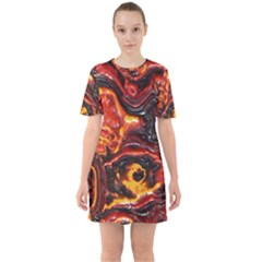 Lava Active Volcano Nature Sixties Short Sleeve Mini Dress