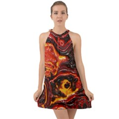 Lava Active Volcano Nature Halter Tie Back Chiffon Dress