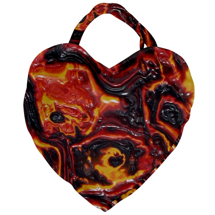Lava Active Volcano Nature Giant Heart Shaped Tote