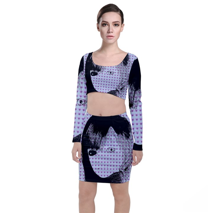 Heartwill Long Sleeve Crop Top & Bodycon Skirt Set