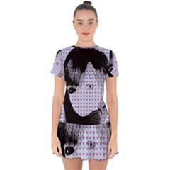 Heartwill Drop Hem Mini Chiffon Dress