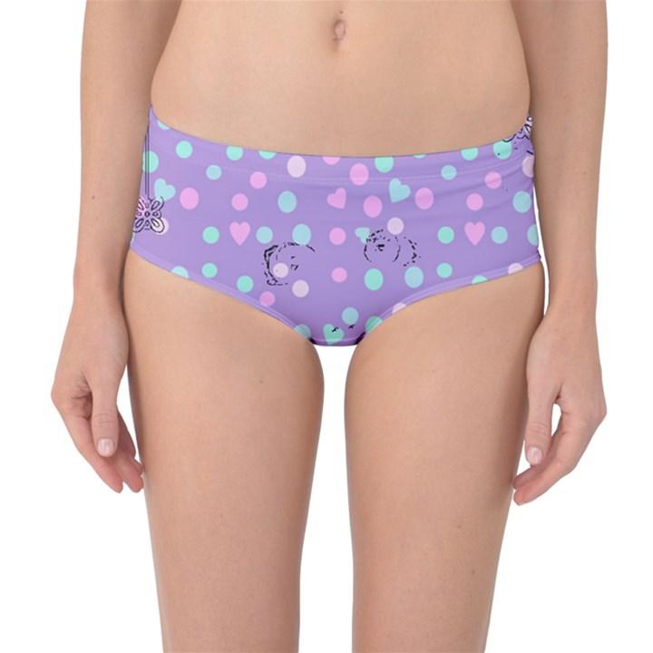 Little Face Mid-Waist Bikini Bottoms